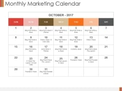 Monthly Marketing Calendar Ppt PowerPoint Presentation Slides Icons