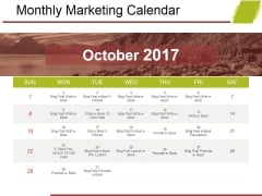 Monthly Marketing Calendar Ppt PowerPoint Presentation Visual Aids Background Images