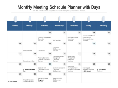Monthly Meeting Schedule Planner With Days Ppt PowerPoint Presentation File Good PDF