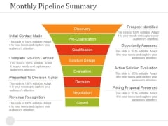 Monthly Pipeline Summary Ppt PowerPoint Presentation Infographic Template Examples