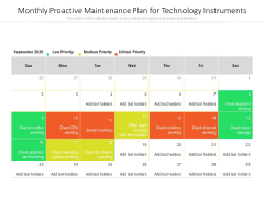 Monthly Proactive Maintenance Plan For Technology Instruments Ppt PowerPoint Presentation File Brochure PDF