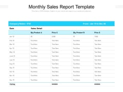 Monthly Sales Report Template Ppt PowerPoint Presentation File Guidelines PDF