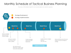 Monthly Schedule Of Tactical Business Planning Ppt PowerPoint Presentation File Deck PDF