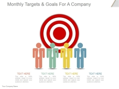 Monthly Targets And Goals For A Company Ppt PowerPoint Presentation Show