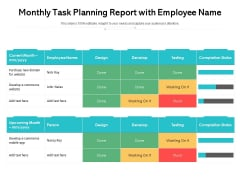 Monthly Task Planning Report With Employee Name Ppt PowerPoint Presentation Slides Infographic Template PDF