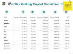 Monthly Working Capital Calculation Table Inventory Strategy Ppt PowerPoint Presentation Icon Picture