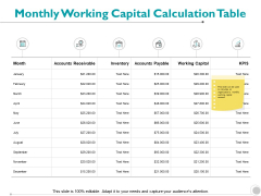 Monthly Working Capital Calculation Table Inventory Strategy Ppt PowerPoint Presentation Slides Summary