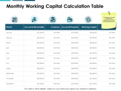 Monthly Working Capital Calculation Table Ppt PowerPoint Presentation Gallery Format Ideas