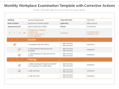 Monthly Workplace Examination Template With Corrective Actions Ppt PowerPoint Presentation Icon Elements PDF