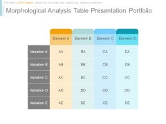 Morphological Analysis Table Presentation Portfolio
