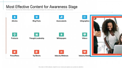 Most Effective Content For Awareness Stage Initiatives And Process Of Content Marketing For Acquiring New Users Ideas PDF
