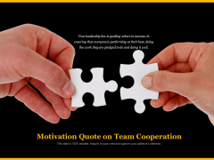 Motivation Quote On Team Cooperation Ppt PowerPoint Presentation Gallery Vector PDF