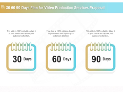 Movie Making Solutions 30 60 90 Days Plan For Video Production Services Proposal Elements PDF