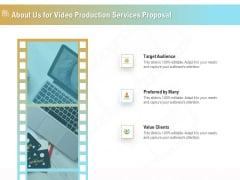 Movie Making Solutions About Us For Video Production Services Proposal Clipart PDF