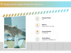 Movie Making Solutions Contact Us For Video Production Services Ppt Icon Example PDF