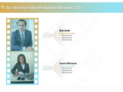Movie Making Solutions Our Team For Video Production Services Editor Ppt Layouts Maker PDF