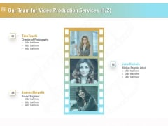 Movie Making Solutions Our Team For Video Production Services Ppt Icon Elements PDF