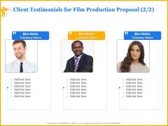 Movie Production Proposal Template Client Testimonials For Film Production Proposal Teamwork Elements PDF