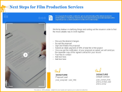 Movie Production Proposal Template Next Steps For Film Production Services Template PDF