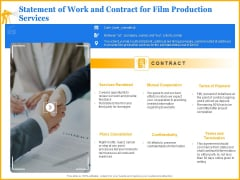 Movie Production Proposal Template Statement Of Work And Contract For Film Production Services Formats PDF