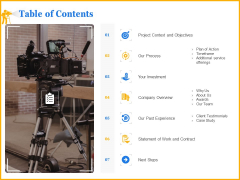 Movie Production Proposal Template Table Of Contents Demonstration PDF