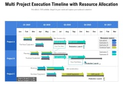 Multi Project Execution Timeline With Resource Allocation Ppt PowerPoint Presentation Icon Information PDF