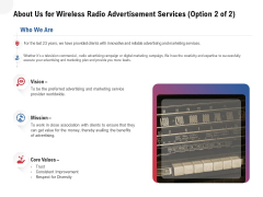 Multi Radio Waves About Us For Wireless Radio Advertisement Services Mission Elements PDF