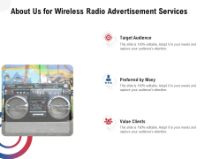 Multi Radio Waves About Us For Wireless Radio Advertisement Services Slides PDF