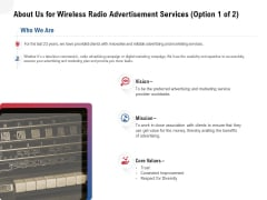 Multi Radio Waves About Us For Wireless Radio Advertisement Services Vision Demonstration PDF