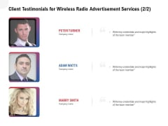 Multi Radio Waves Client Testimonials For Wireless Radio Advertisement Services Highlights Ideas PDF