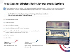 Multi Radio Waves Next Steps For Wireless Radio Advertisement Services Infographics PDF