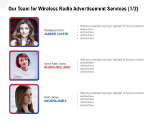 Multi Radio Waves Our Team For Wireless Radio Advertisement Services Credentials Inspiration PDF