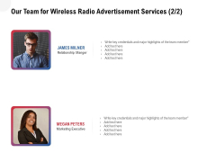 Multi Radio Waves Our Team For Wireless Radio Advertisement Services Inspiration PDF