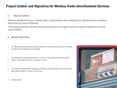 Multi Radio Waves Project Context And Objectives For Wireless Radio Advertisement Services Themes PDF