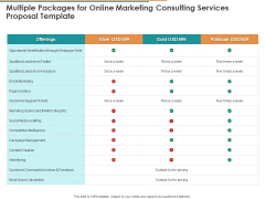 Multiple Packages For Online Marketing Consulting Services Proposal Template Ppt Model Slides PDF