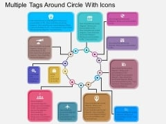 Multiple Tags Around Circle With Icons Powerpoint Templates