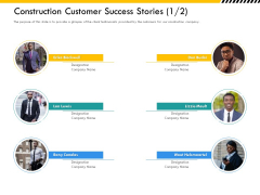 Multitier Project Execution Strategies Construction Customer Success Stories Teamwork Icons PDF
