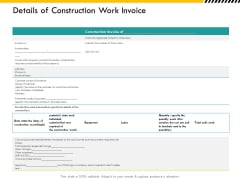 Multitier Project Execution Strategies Details Of Construction Work Invoice Graphics PDF