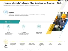 Multitier Project Execution Strategies Mission Vision And Values Of Our Construction Company Merit Portrait PDF