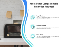 Music Promotion Consultation About Us For Company Radio Promotion Proposal Elements PDF