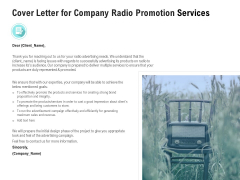 Music Promotion Consultation Cover Letter For Company Radio Promotion Services Background PDF
