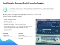 Music Promotion Consultation Next Steps For Company Radio Promotion Services Summary PDF