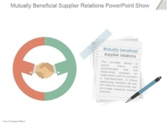 Mutually Beneficial Supplier Relations Ppt PowerPoint Presentation Professional