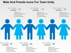 Male And Female Icons For Team Unity PowerPoint Template