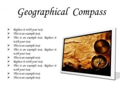 Map With Compass Geographical PowerPoint Presentation Slides F