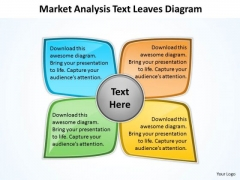 Market Analysis Text Leaves Diagram Circular Flow Motion PowerPoint Slides