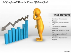 Marketing Concepts 3d Confused Man Front Of Bar Chart Characters