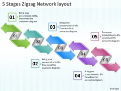 Marketing Concepts 5 Stages Zigzag Network Layout Strategic Plan Outline Template Ppt Slide