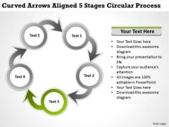 Marketing Concepts Arrows Aligned 5 Stages Circular Process Business Integration Strategy