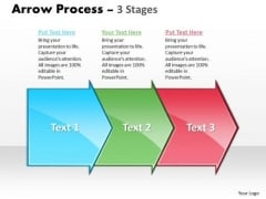 Marketing PowerPoint Template Arrow Process 3 Stages Business Plan Design